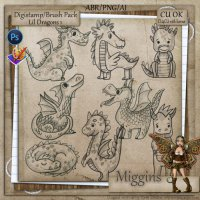 CU/CU4CU Stamp/Brush pack Lil Dragons 1
