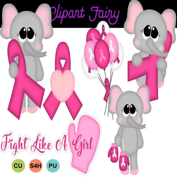 Elephants with pink awareness Ribbon
