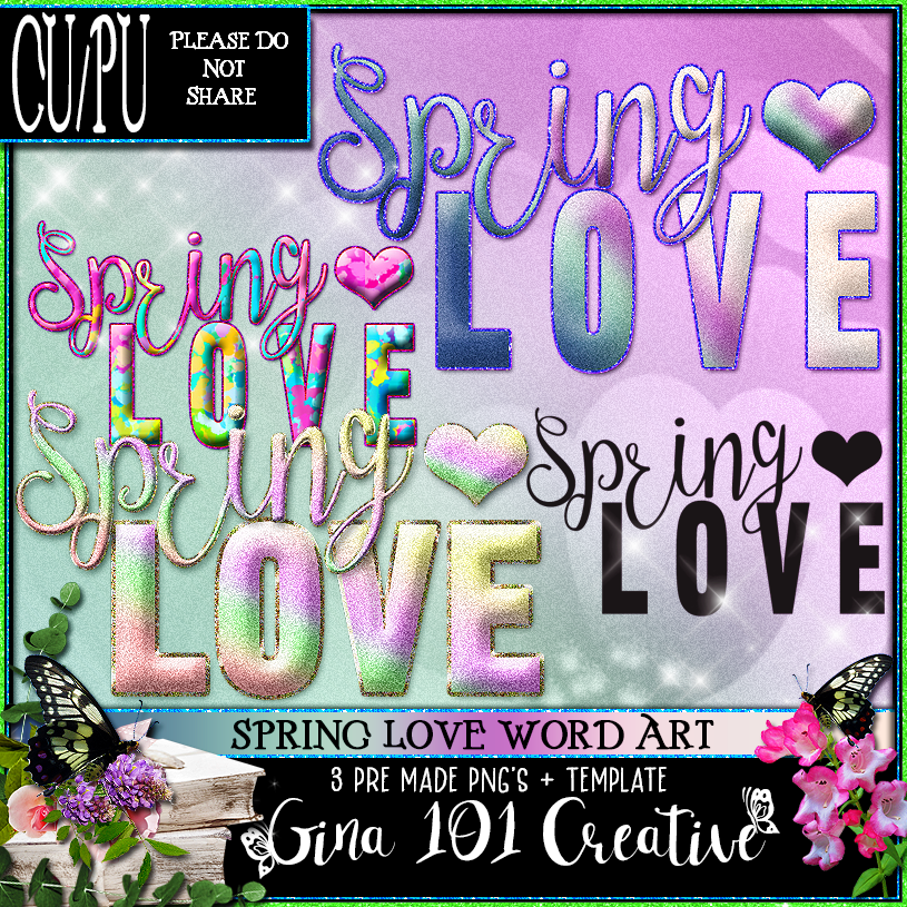 CU4CU CU/PU Spring Love Word Art