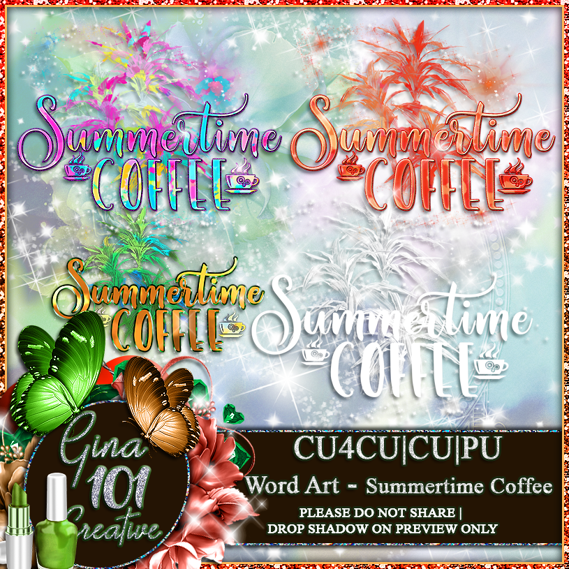 CU4CU CU/PU Summertime Coffee Word Art