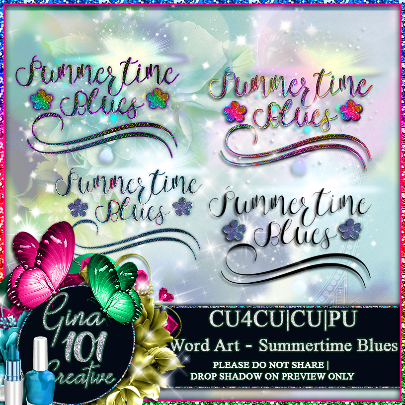 CU4CU CU/PU Summertime Blues Word Art