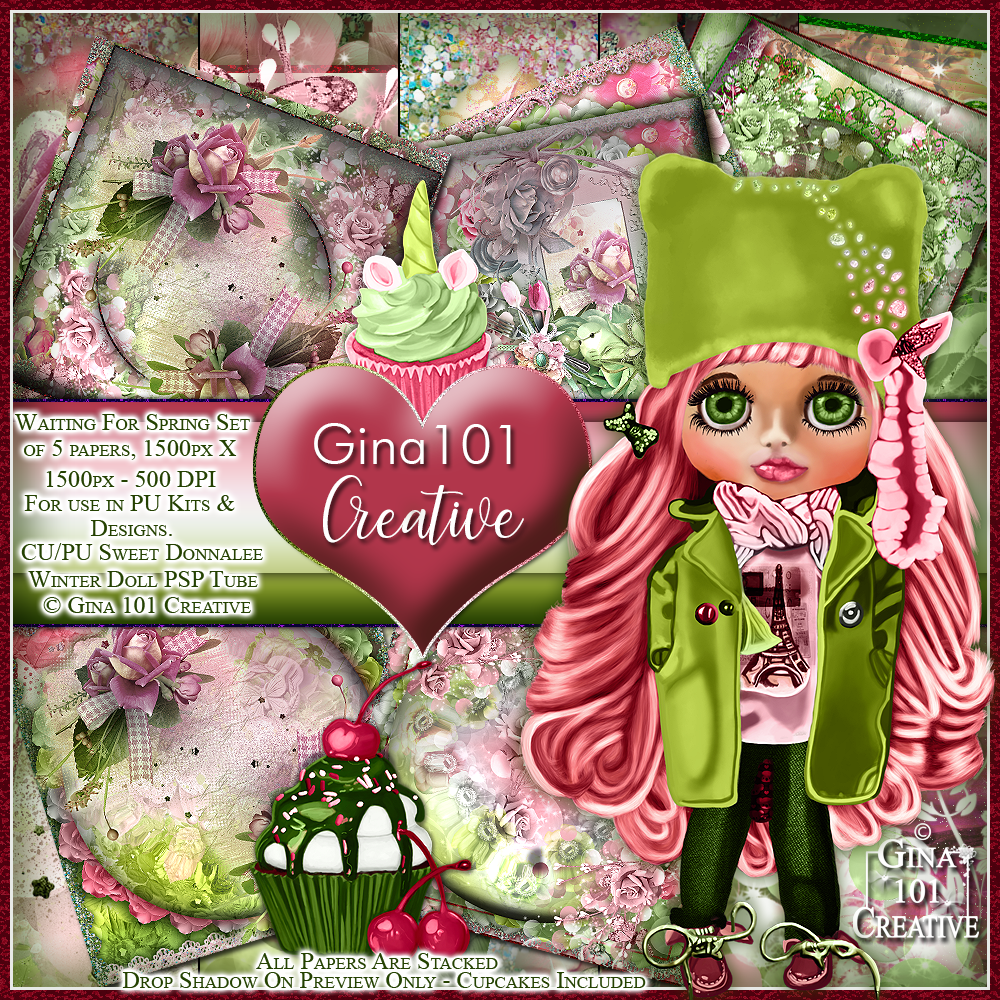 Waiting For Spring Set Of Stacked Papers, CU/PU Doll & Cupcakes