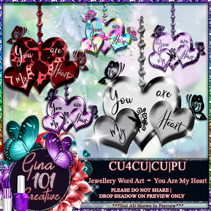 CU4CU CU/PU You Are My Heart Jewellery Word Art