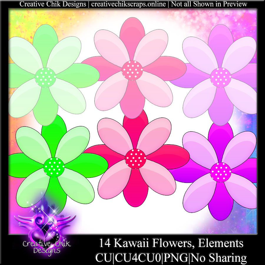 CCD-Kawaii Flowers Clipart