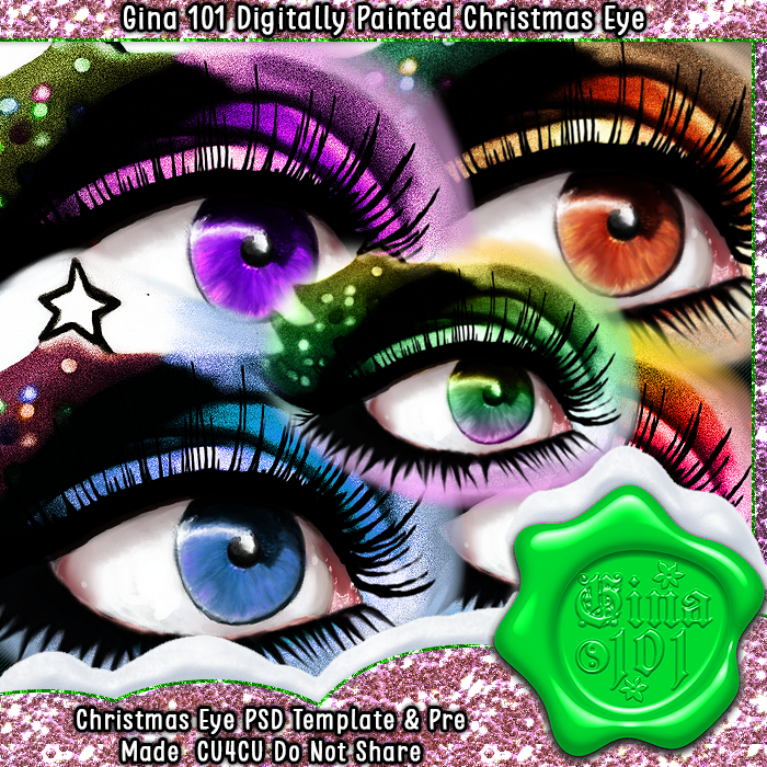 CU4CU Digitally Painted Christmas Eye PSD Template