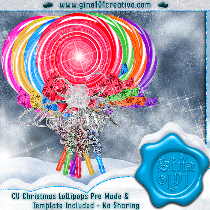 CU Set of Christmas Pre Made Lollipops Plus PSD Template