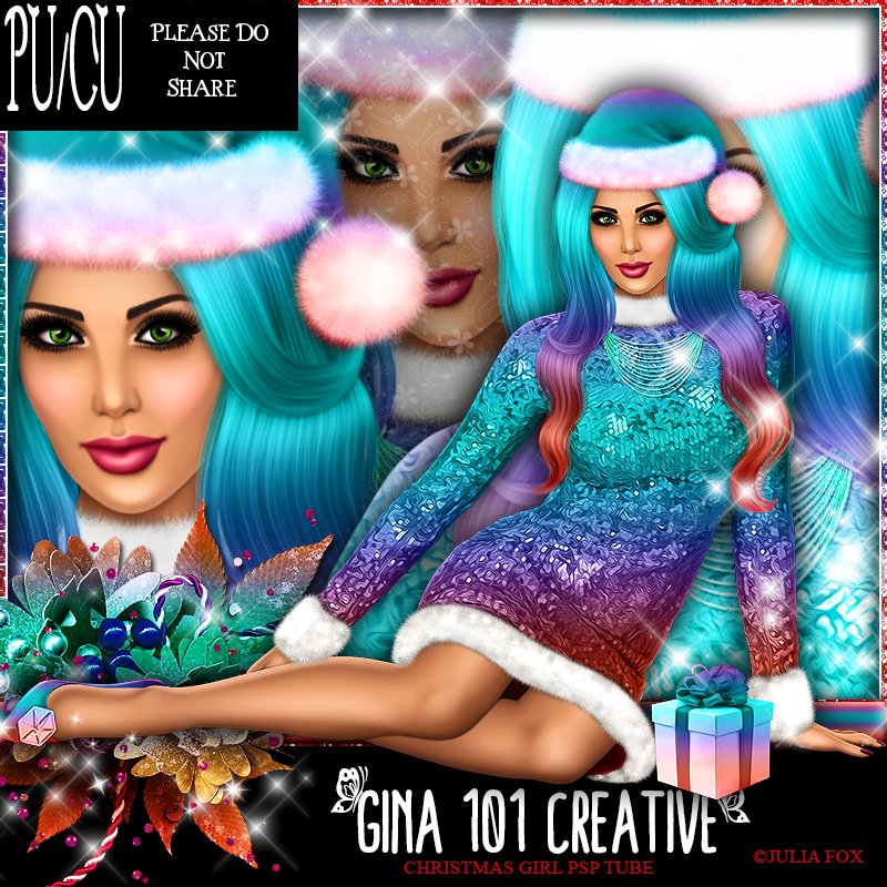 CU/PU Julia Fox Christmas Girl Soft Candy/Aqua PSP Tube