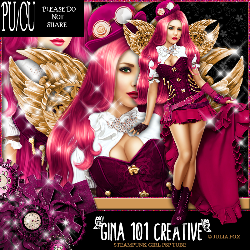 CU/PU Julia Fox Steampunk Hot Pink/Soft Gold PSP Tube