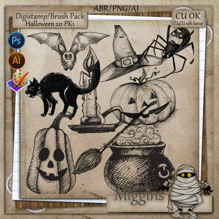 CU/CU4CU Stamp/Brush Halloween 2020 pack 1